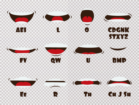 Cartoon talking mouth and lips expressions vector animations poses isolated on transparent background. Mouth talk, animation movement practice, english say disassembled, separated letter illustration