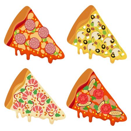 Tasty fresh pizza slices isolated on white background