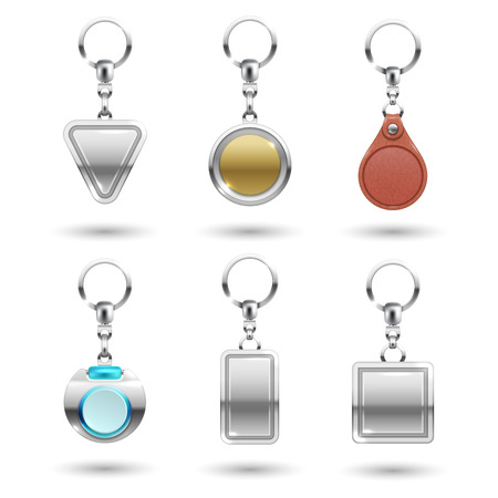 Realistic vector silver, golden, leather keychains in different shapes isolated on transparent background