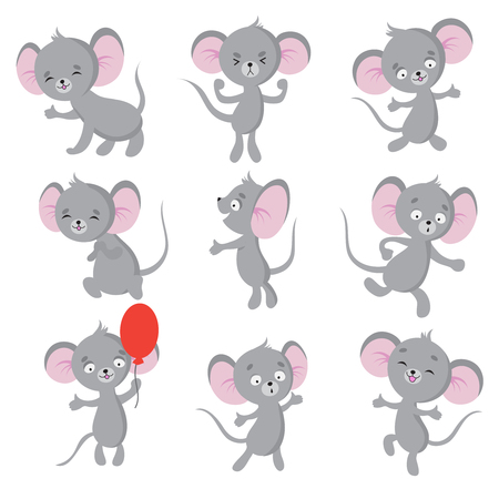 Cute mouse. Cartoon mice in house. Vector isolated characters. Mouse animal, rodent mammal, mice comic illustration Ilustração