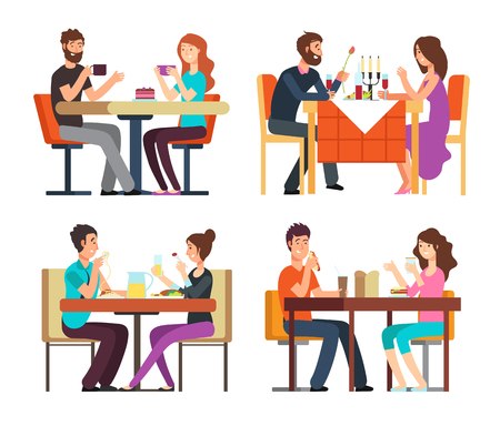Couples table. Man, woman having coffee and dinner. Conversation between guys in restaurant. Vector cartoon characters in romantic date. Illustration of romantic meeting in restaurant, man and woman