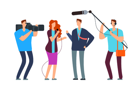 Journalists take interview. Broadcasting reportage with photographer and videographer. Broadcast vector concept. Reporter with microphone, woman journalist illustration