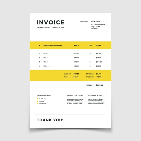 Invoice template. Quotation table paper prder for bookkeeping services. Vector document bookkeeping budget accounting, document invoice order illustration Ilustração
