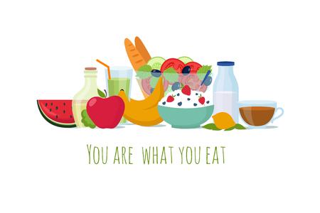 Alimentos dietéticos de equilibrio saludable. Las mejores comidas para el fondo del vector de la vida. Ilustración de nutrición dieta saludable, almuerzo orgánico de salud