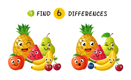 Finding differences. Children game with happy cartoon fruits. Vector illustration for kids book. Fruit apple and pineapple, plum and banana, berry and pear