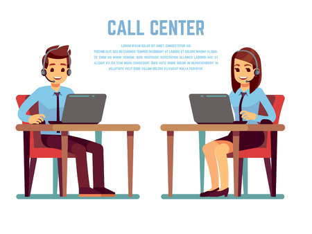 Smiling young woman and man operator with headset talking with customer. Cartoon characters for call center concept Vectores