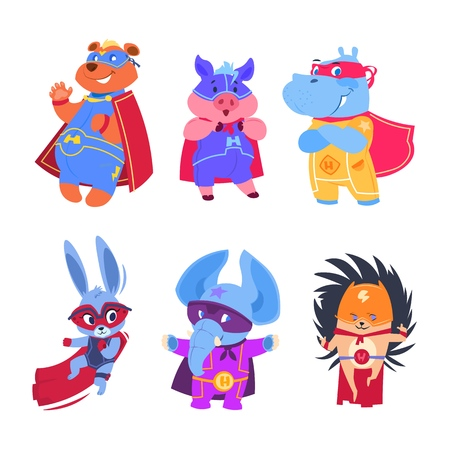Superhero animals. Baby superheroes vector characters set Illustration
