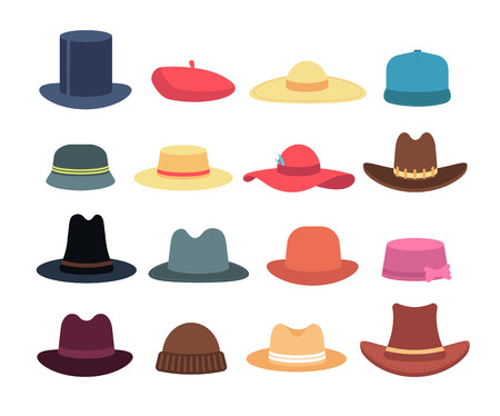 Man and woman hats. Cartoon hat and cap headdress vector isolated collection