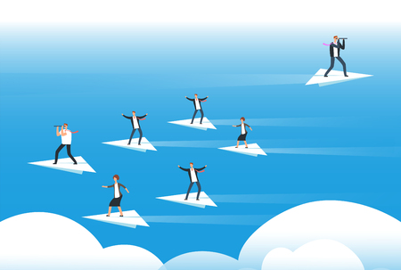 Individual thinking and new direction. Businessmen standing on paper planes. Unique solutions and believe yourself vector concept Stok Fotoğraf - 106838726