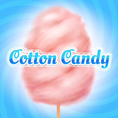 Cotton candy background. Candyfloss, kids sugar sweet dessert. Summer holiday vector poster Stock Photo