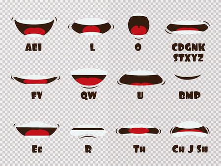 Dibujos animados hablando boca y labios expresiones animaciones vectoriales poses aisladas sobre fondo transparente. Hablar con la boca, practicar el movimiento de animación, decir inglés desmontado, ilustración de letras separadas