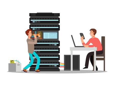 Homme ingénieur, technicien travaillant au bureau. Deux personnages de dessins animés informatiques masculins plats. Illustration vectorielle