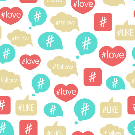 Colorful hashtag bubble icons seamless pattern design. Vector illustration background Illustration