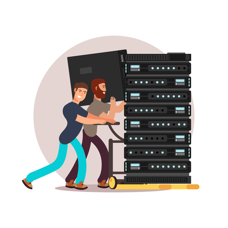 Two male computer engineers, IT specialists with database servers. Vector illustration