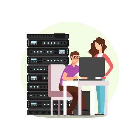 Woman and man cartoon character. IT or computer engineers working together with data base, server. Vector illustration 矢量图片