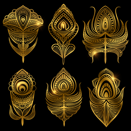 Set of golden feathers vector isolated on black background illustration
