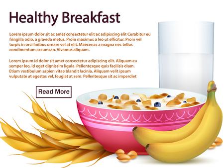 Modèle de bannière de petit déjeuner avec des céréales, des fruits réalistes