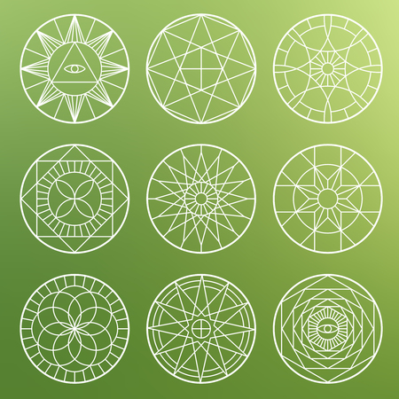 White esoteric geometric pentagrams. Spiritual sacred mystical vector symbols Illustration