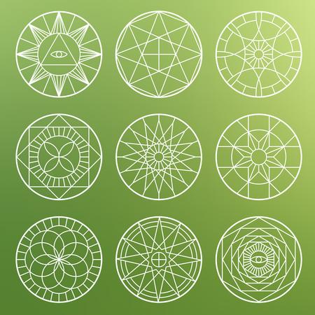 White esoteric geometric pentagrams. Spiritual sacred mystical vector symbols Illustration