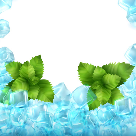 Realistic ice cubes and mint isolated on white background. Vector food and drink ads template illustration