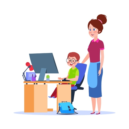 Mother and child at computer. Mom helping boy with homework. Cartoon school education vector concept. Illustration of mother and child, education and studying homework