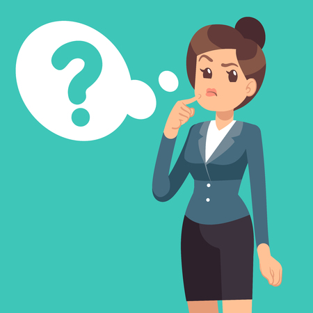 Confused businesswoman. Thinking girl and cloud with questions mark. Business vector concept. Question girl face, cloud bubble think illustration