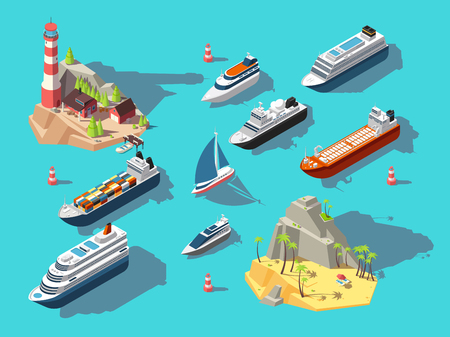 Isometric ships. Boats and sailing vessels, ocean tropical island with lighthouse and beach. 3d vector illustration. Boat nautical, sailboat and yacht in ocean Vektorgrafik