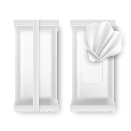 Wet wipe package. White napkin packaging isolated vector mockup
