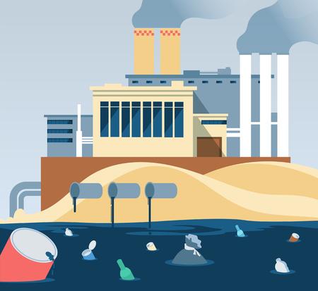 Déchets industriels. Eau sale polluée et rivière d'eaux usées déversées en usine. Usine d'eaux usées et d'ordures, vecteur d'illustration de pollution boueuse et laid
