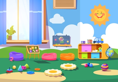 Kindergarten room. Empty playschool room with toys and furniture. Kids playroom cartoon vector interior