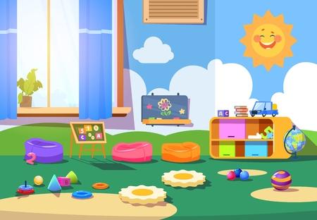 Stanza dell'asilo. Stanza vuota della scuola materna con giocattoli e mobili. Interno di vettore del fumetto della sala giochi per bambini