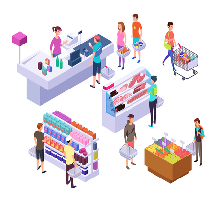 Isometric grocery store. 3d supermarket interior with shopping people customers and products. Retail vector set. Interior of 3d supermarket store, isometric grocery with customers