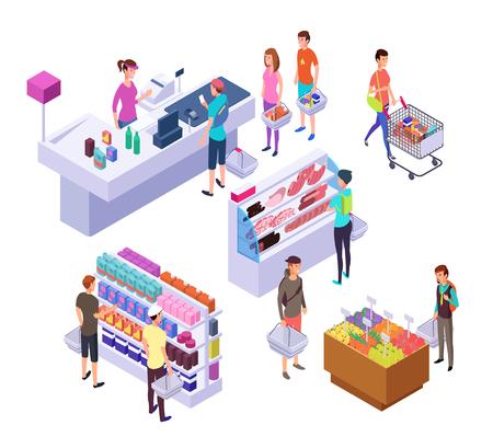 Negozio di alimentari isometrica. Interiore del supermercato 3d con clienti e prodotti della gente di acquisto. Insieme di vettore di vendita al dettaglio. Interno del supermercato 3d, drogheria isometrica con i clienti