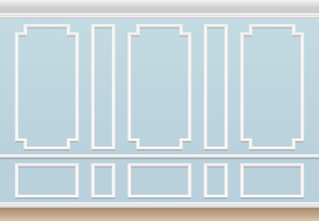 Classic blue wall with moulding panel. House luxury interior with molding frames. Vector background wall interior molding, architecture frame panel illustration