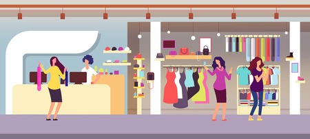 Fashion store. Shopping women in boutique with femele clothes and accessories. Clothing shop interior flat vector illustration. Boutique store, interior elegance retail showroom 向量圖像
