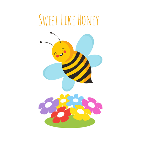 Cartoon flying bees. Cute bee and flower. Honeybee vector background. Insect cartoon, bumblebee and colored flowers illustration Illustration