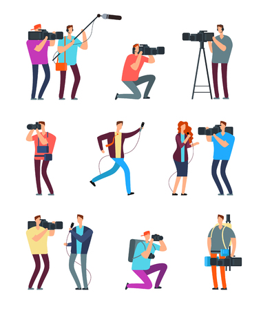 Journalist cameraman. People make tv broadcast. Videographers with camera and journalists with microphones. News crew vector characters reporte and, operator, journalism correspondent illustration Vektorové ilustrace