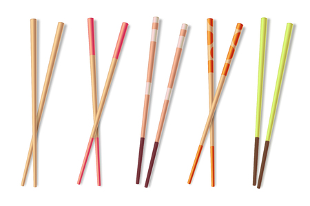 Chopsticks. Wooden asian eating sticks. Bamboo chinese food closeup chopstick isolated vector illustration. Stick wooden for asian dinner Vektorové ilustrace