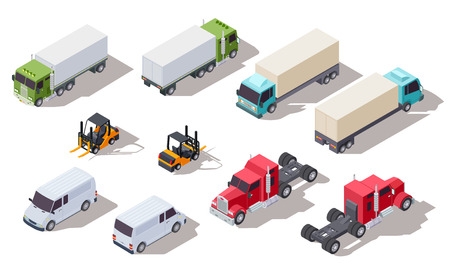 Isometric truck. Transportation trucks with container and van, lorry and loader. Vector 3d vehicles collection. Illustration transport van, isometric cargo forklift Illustration