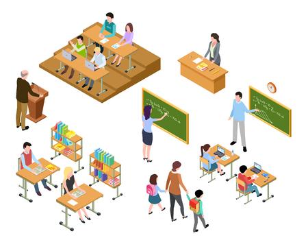 Scuola isometrica. Bambini e insegnante in aula e biblioteca. Persone in uniforme e studenti. Concetto 3d di vettore di istruzione scolastica. Biblioteca e aula, illustrazione della classe della scuola di educazione