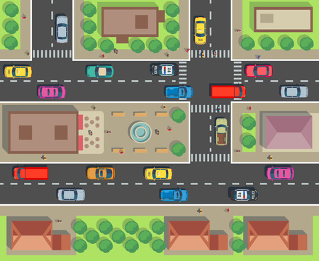 City top view. Building and street with cars and trucks. Urban traffic vector map Illustration