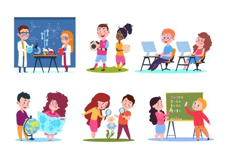 Niños en lecciones. Niños en edad escolar que aprenden geografía y química, biología y matemáticas. Conjunto de personajes de dibujos animados vector. Educación y aprendizaje escolar, ilustración de disciplina de enseñanza. Ilustración de vector