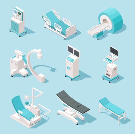 Equipo médico isométrico. Herramientas de diagnóstico hospitalario. Sistema de vector de máquinas 3d de tecnología de atención médica. Equipo médico, dispositivo de rayos X y resonancia, ilustración de monitorización de resonancia magnética