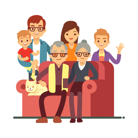 Cartoon style family isolated on white background. Grandparents Day happy old couple with grandsons. Grandmother and grandfather, grandparent and grandson. Vector illustration Ilustração Vetorial