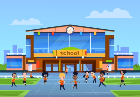Children at school building. Cartoon kids in uniformy play in yard in front of college. Back to school, education vector background. College education, school building architecture illustration Illustration