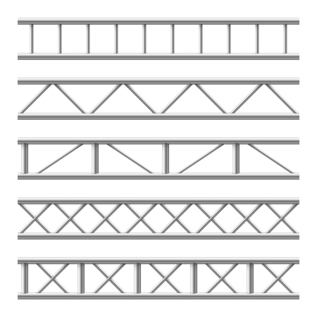 Steel truss girder seamless structure. Metal framework for billboard. Isolated vector set