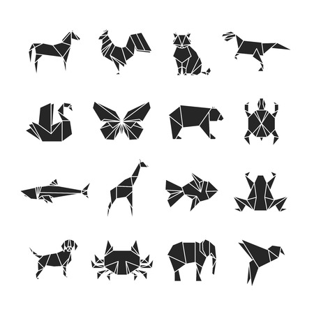 Abstract animals silhouettes with line details. Animal icons isolated on white background. Set of tattoo dog and fish, turtle and rooster illustration 矢量图像