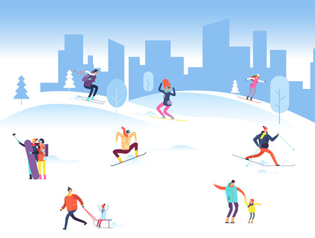Merry christmas background with people in winter park. Family, adult and kids snowboarding and skiing outdoor. Vector illustration. Ski snow people, mountain snowboarding