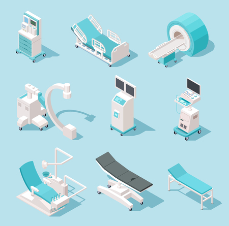 Isometric medical equipment. Hospital diagnostic tools. Health care technology 3d machines vector set. Medical equipment, x-ray and resonance device, monitor mri illustration Illustration