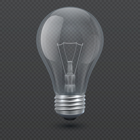 Realistic 3d light bulb vector illustration isolated on transparent background. Lightbulb, lamp glass electricity